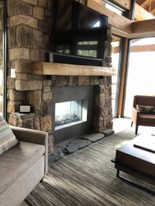 The Stone Fireplace in the Cabin at Copper Creek Villas