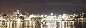 ©The Yacht and Beach Club at night, reflecting on Crescent Lake.